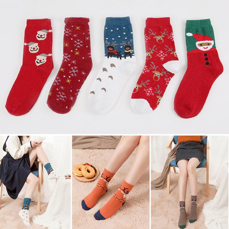 2019 New Girls Christmas Socks Fashion Soft 5 Pairs Socks Fun Colorful Warm Thick Winter Crew Breathable Sweat-absorbent Socks