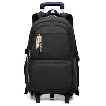 Children Detachable Trolley Backpack Boys Wheeled School Bag Casual Travel Luggage Waterproof Climb The Stairs