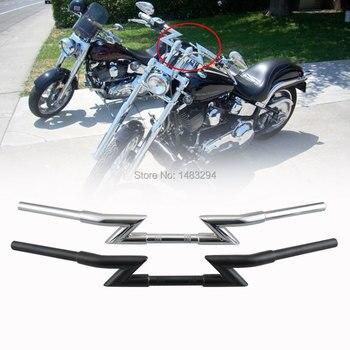 Extended 85CM Silver/Black Thickened Lightning Z-Bar Drag Handlebar Fits For Harley Honda Kawasaki 1 '' Diameter Universal
