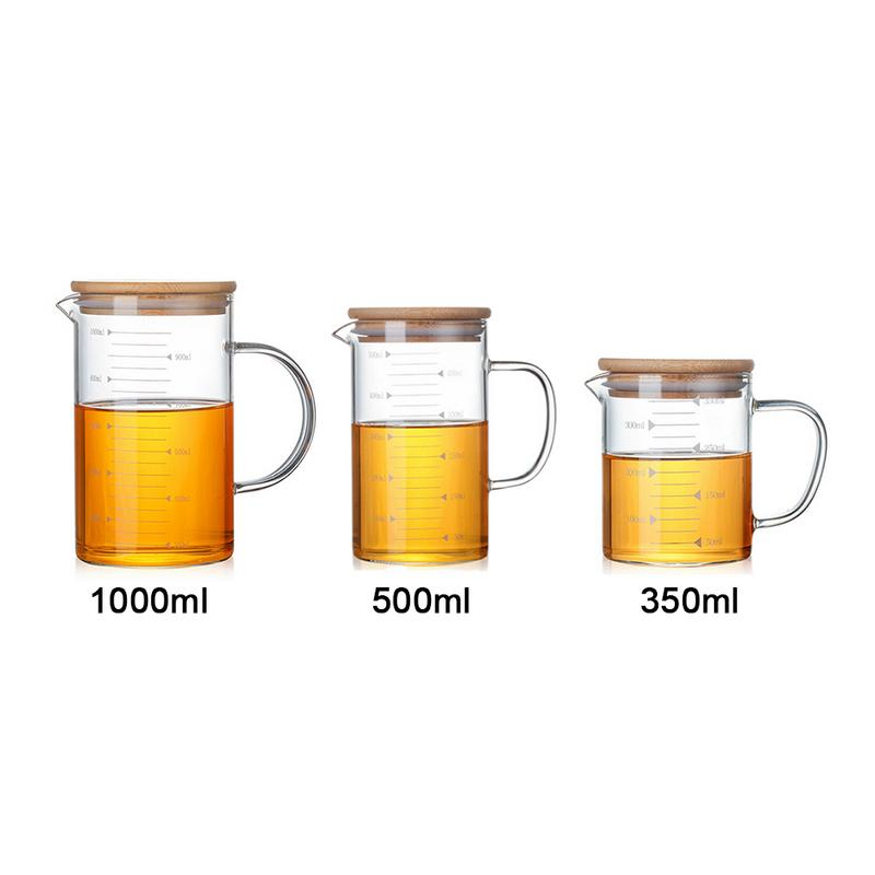 350-1000ml Heat-resistant Glass Measuring Cup Glass Jug With Bamboo Cover Glass Transparent Scale Cup Food Grade
