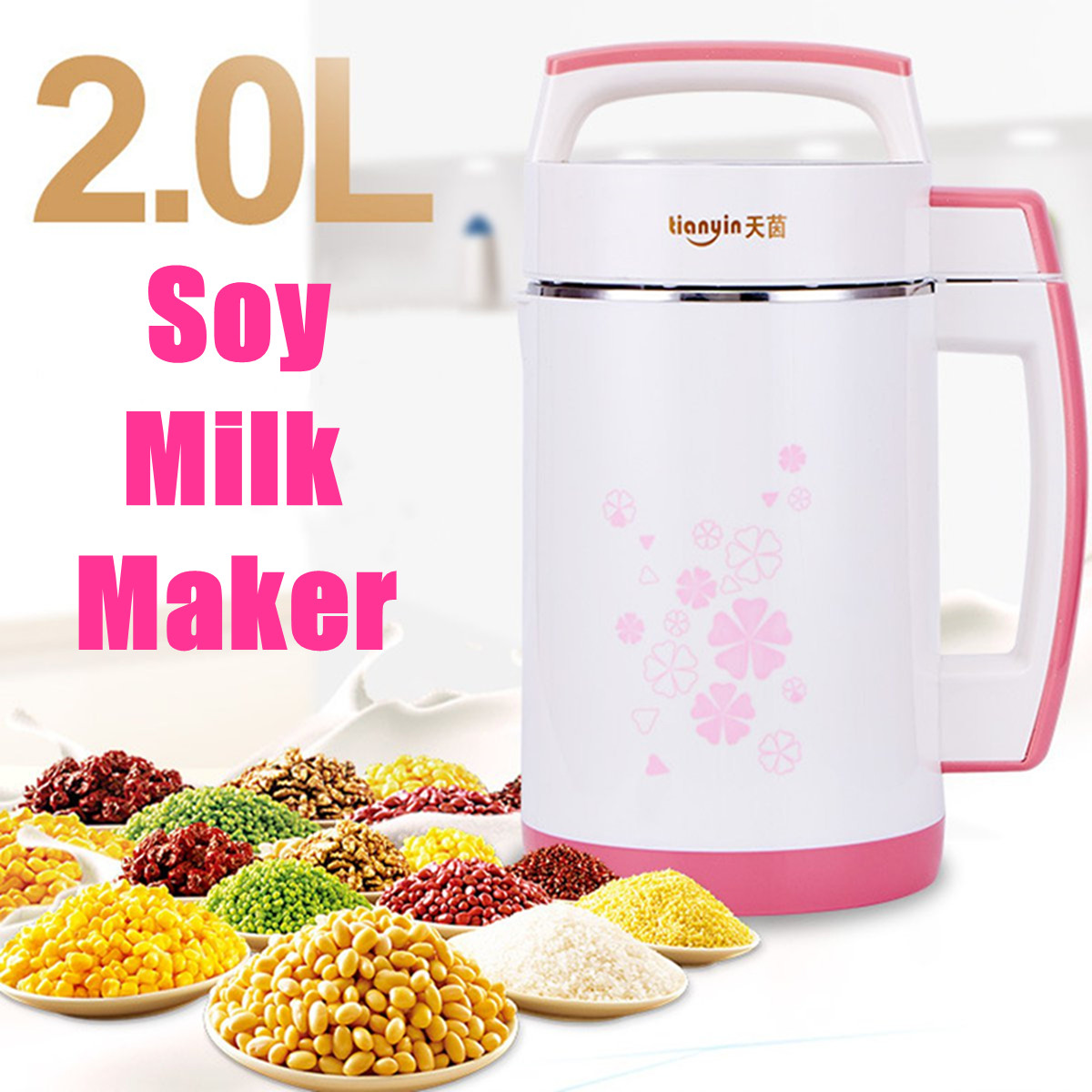 2L Multifunction Soymilk Machine Stir Rice Paste Maker Stainless Steel Filter-free Automatic Heating Soya-Bean Milk Juicer 800W