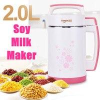 2L Multifunction Soymilk Machine Stir Rice Paste Maker Stainless Steel Filter free Automatic Heating Soya Bean Milk Juicer 800W