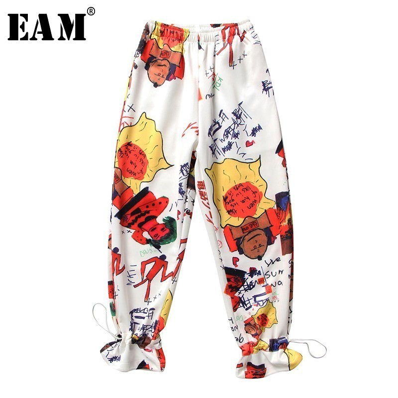 [EAM] 2019 New Autumn Winter High Elastic Waist Loose Pattern Printed Personality   Wide     Leg     Pants   Women Trousers Fashion JT282
