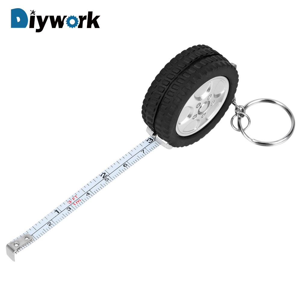 DIYWORK 1m Tape Measure For Travel Camping Keychain Ruler Mini Retractable Tape Sewing Tool Tire Shape Centimeter/Feet