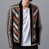 Модный мужской блейзер, пиджак, цветной вязаный свитер, блейзер Masculino Erkek, Мужской Блейзер, вечерние блейзеры для сцены, Клубные дизайнерские