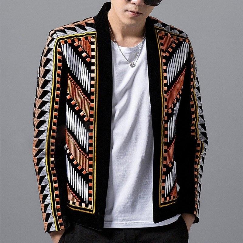Mode hommes Blazer veste coloré broderie costume Blazer Masculino Erkek Blazer Hombre scène fête Club Designer Blazers 2018