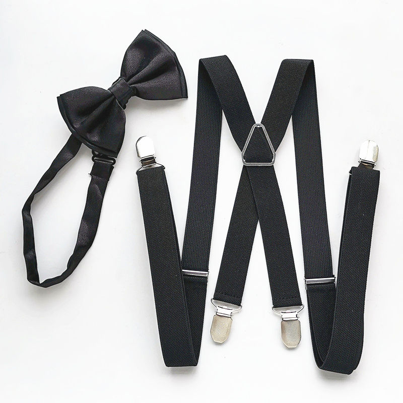 Black Men Suspender Bow Tie Sets High Elastic Strap Strong 4 Clips-on Suspenders Neck Tie Set Adult Women Wedding LB002