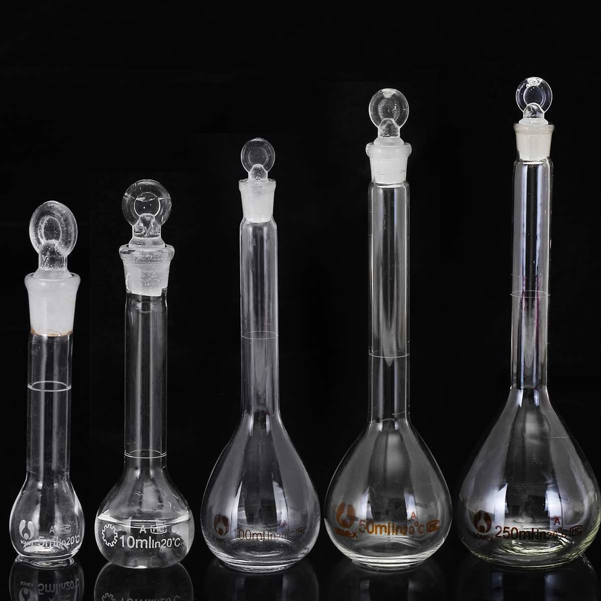 5-100ml Transparent Lab Conical Flask Glass Scientific Glass Erlenmeyer Flask Safe Glassware Laboratory School Research Supply
