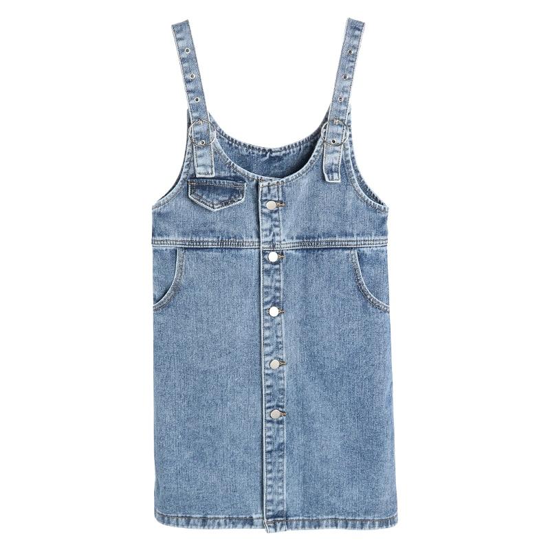 2020 Spring Summer Women Sleeveless Denim Dress Fashion Style Spaghetti Strap Buttons Denim Sundress Overall Vestidos