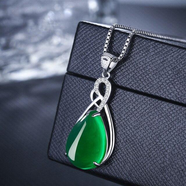 S925 Sterling Silver Women's Necklace Corundum Pendant Jade Turquoise S925 Collarbone Jewelry Jade Pendant Gemstone Bizuteria 3