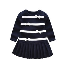 spring baby girls Sweater dress cotton children clothing child long sleeve bow knitted kids clothes boutiques winter
