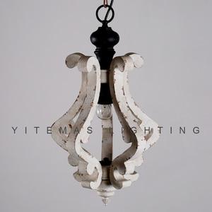 Image 4 - Farmhouse vintage białe drewno żyrandol oprawa oświetleniowa małe antyczne wiszące francuski żyrandol światło do jadalni 1 światło