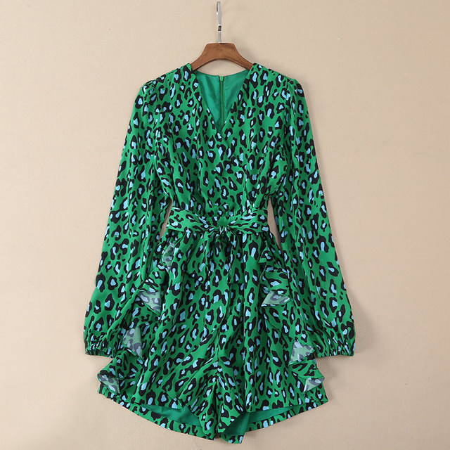7107a3169db woman bodycon clothes leopard bodysuit silk summer rompers womens short  rompers v neck animal print green long sleeve playsuit
