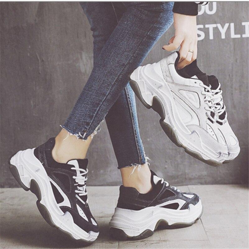 NEWDISCVRY Genuine Leather Chunky Sneaker Men 2019 Spring Fashion High Platform Men s Shoes Vintage Thick