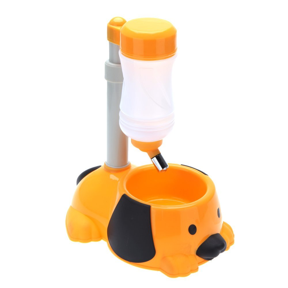 Lifting Water Drinking Feeder Fountain with Food Bowl For Dogs Cats Especially Small Size Pets orange yellow