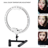 Dimmable 14 LED Ring Lamp Fill Light with Cosmetic Mirror Photography Selfie Light for Camera Photo Studio Video Live Makeup