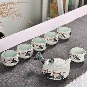 Image 5 - 7Pcs Cute Embroidered Bird Tea Set Creative Kung Ku Teapot Cup Set Japanese Style Thick Pottery Teaware As Gifts