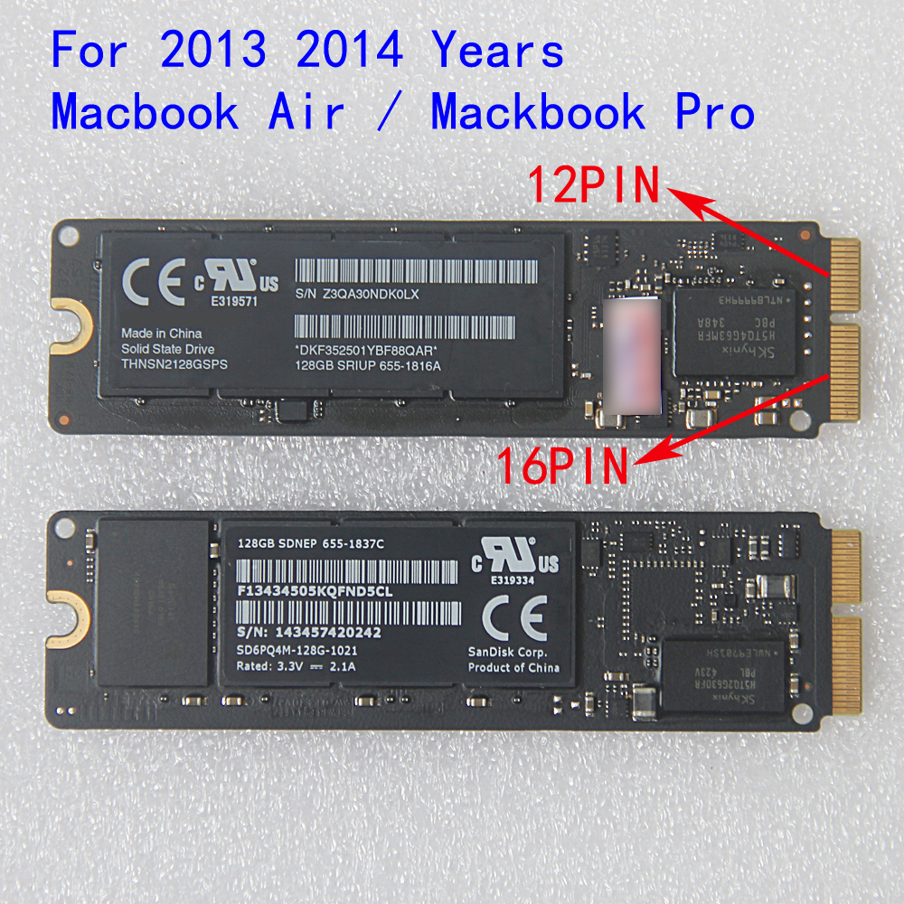 128GB 256GB SSD 2013 2014 Year for Apple Macbook Pro Retina A1502 A1398 Air A1465 A1466 SSD Solid State Drive THNSN2128GSPS