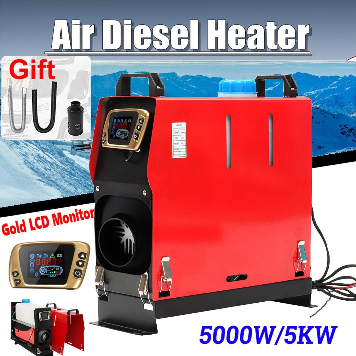 Tout En Un 5000 w Air diesels Chauffe-5KW 12 v Un Trou Chauffage De la Voiture Pour Camions Moteur-Maisons bateaux Bus + LCD Interrupteur à clé