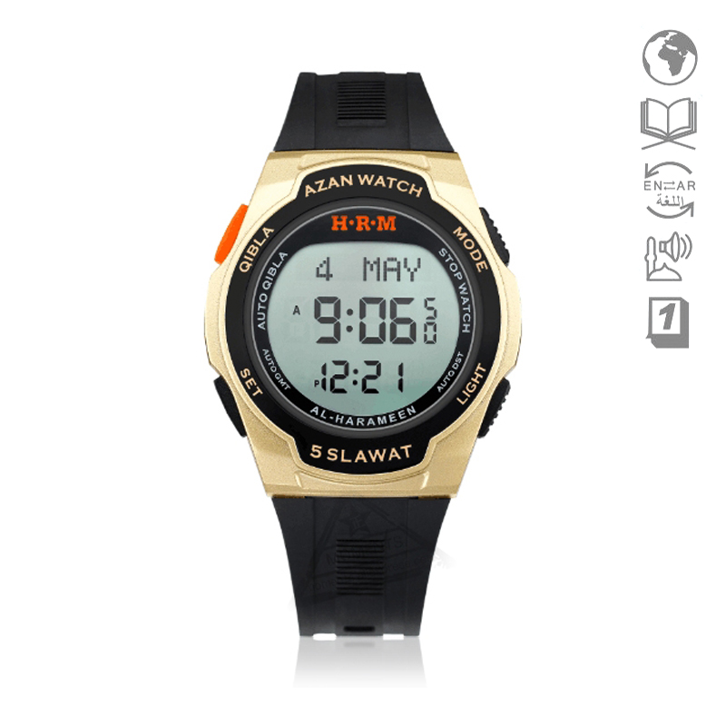 Waterproof Sport Watch With Prayer Alram And Hijri 6506 Azan Clock With Automatic Qibla Direction And Stopwatch Watches Men's Watches