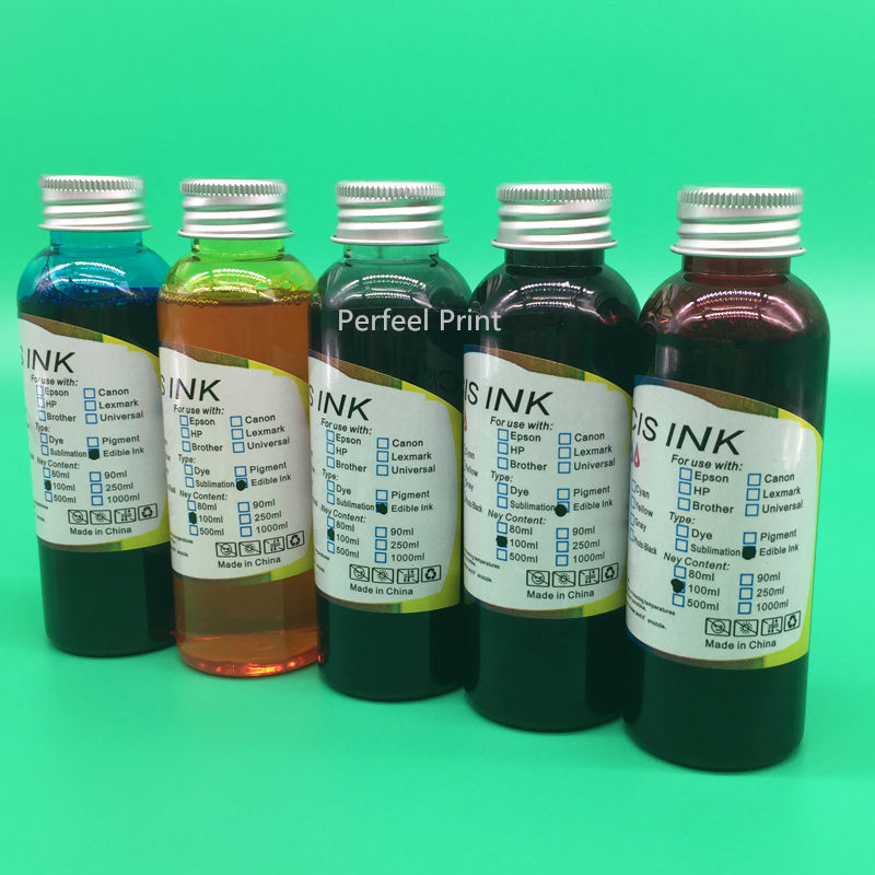 5 Bottles PGI 270 CLI 271 Edible Ink For Canon PIXMA MG5720 MG5721 MG5722 MG6820 MG6821