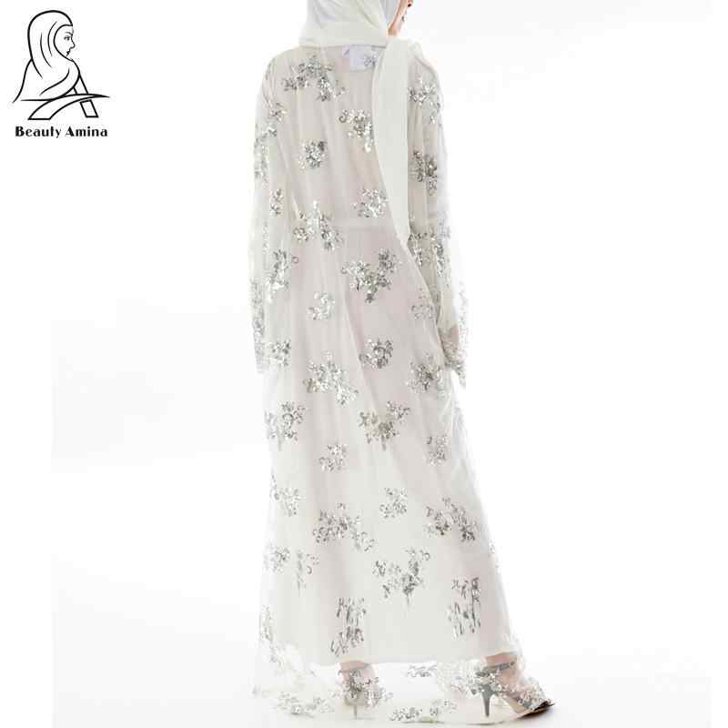 1b0af697a Julyee Sequin Embroidery Abaya Cardigan Robe Lace Plain kaftans Long Sleeve  maxi long kimono Muslim dress women Turkish clothes