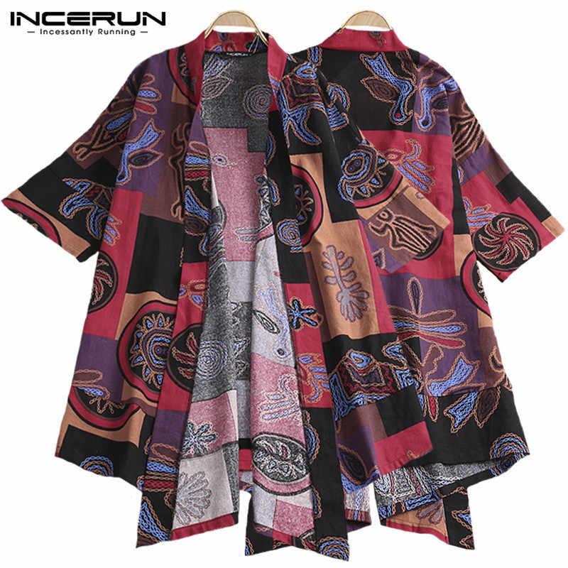 2e5ff41d80f INCERUN Men s Outerwear Ethnic Style Print Trench Coat Cotton Half Sleeve  Irregular Kimono Loose Vintage Men
