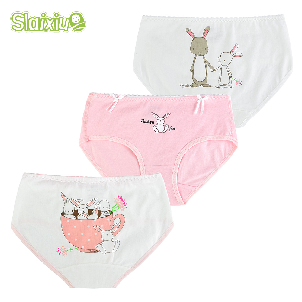 SLAIXIU 3 Pcs/lot Cotton Girl Panties For Girls Underwear Kids Briefs Children Clothes Cartoon Cute Underpants For 3-13 Year