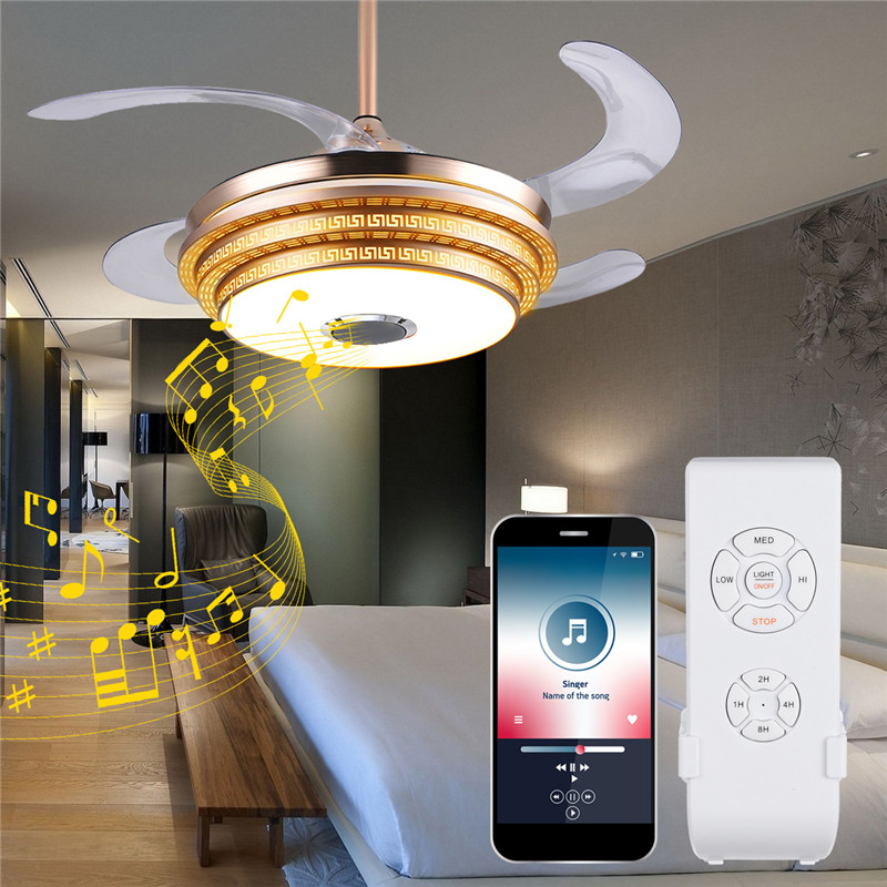 42 Modern Bluetooth Ceiling Fan Light Remote Music: LED Ceiling Fans Light Trendy RGB Color Changing Bluetooth