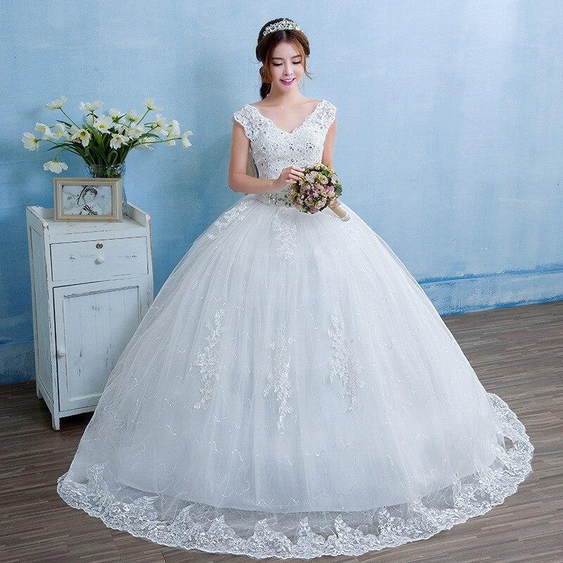 Robe De Mariee Crystal Sashes Wedding Dresses Ball Gown V-Neck Sleeveless Lace Up Elegant Formal Women Wedding Bride Dresses