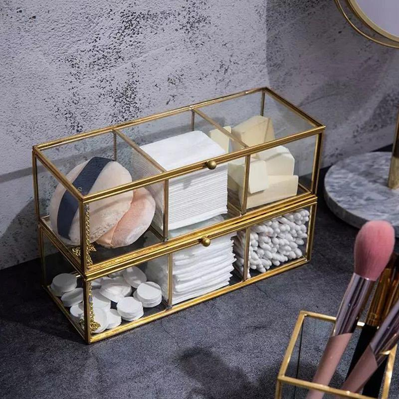 Retro Copper Edge Glass Cotton Box Lipstick Lipstick Storage Box Transparent Gold Bronze Makeup Box Bathroom Storage Rack