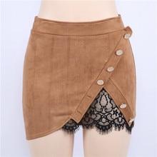 Женская юбка на шнуровке с высокой талией, замшевые кожаные юбки, новые женские модные короткие мини-юбки с карманами и пуговицами