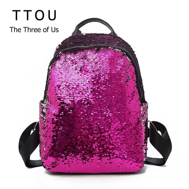 TTOU Fashion Sequins Women Leather Shiny Backpack Bling Female Mochila  Girls Glitter School Bags Shine Bag