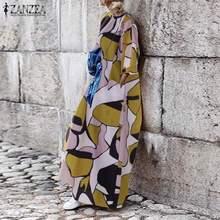 2019 Summer Long Maxi Dress Women Sleeve Print Vestidos ZANZEA Elegant Ladies Beach Robe Femme Casual Sundress Plus Size