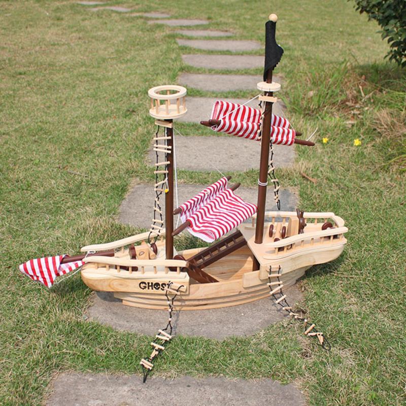 Большой деревянный пиратский корабль игрушка для детей многоцветный резиновый деревянный идеально подходит для дома и школы - 2