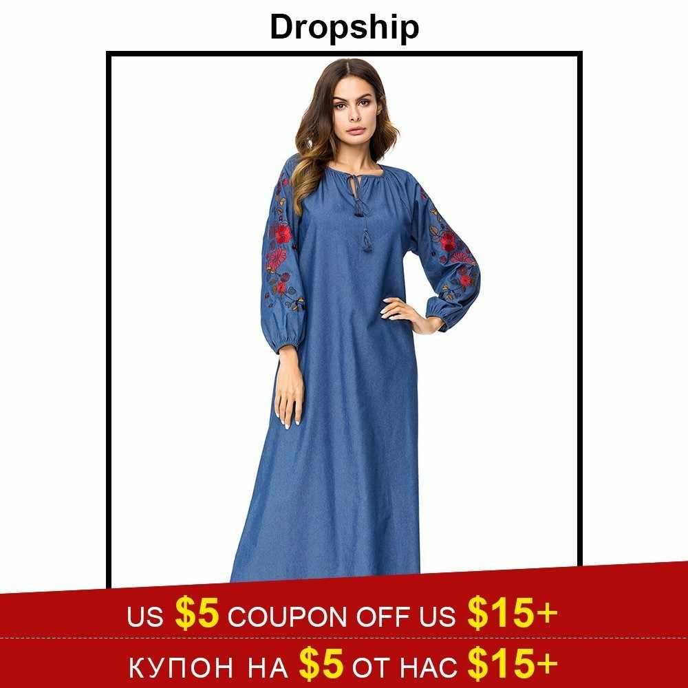 e6e2de2feb Dropship Dress Women Dresses Long Maxi Plus Size Vintage Vestidos Verano  2019 Robe Femme Denim Loose