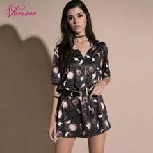 e559456f5d6 Versear Vintage Women Mini Loose Dress Short Sleeves V-Neck Moon Planet  Print Casual Straight T-Shirt Dresses Black Satin Dress