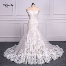 Liyuke Mermaid Wedding Dress Train Sleeveless Bride Dress