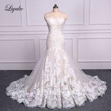 Liyuke robe de mariée sirène en dentelle, robe de mariée élégante, avec traîne de comptage, sans manches, trompette, à lacets
