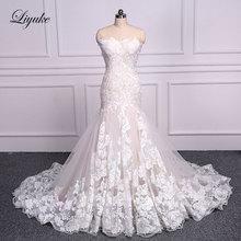 Элегантное свадебное платье Русалка Liyuke с вышивкой сердечком, кружевное платье труба без рукавов со шнуровкой, платье невесты