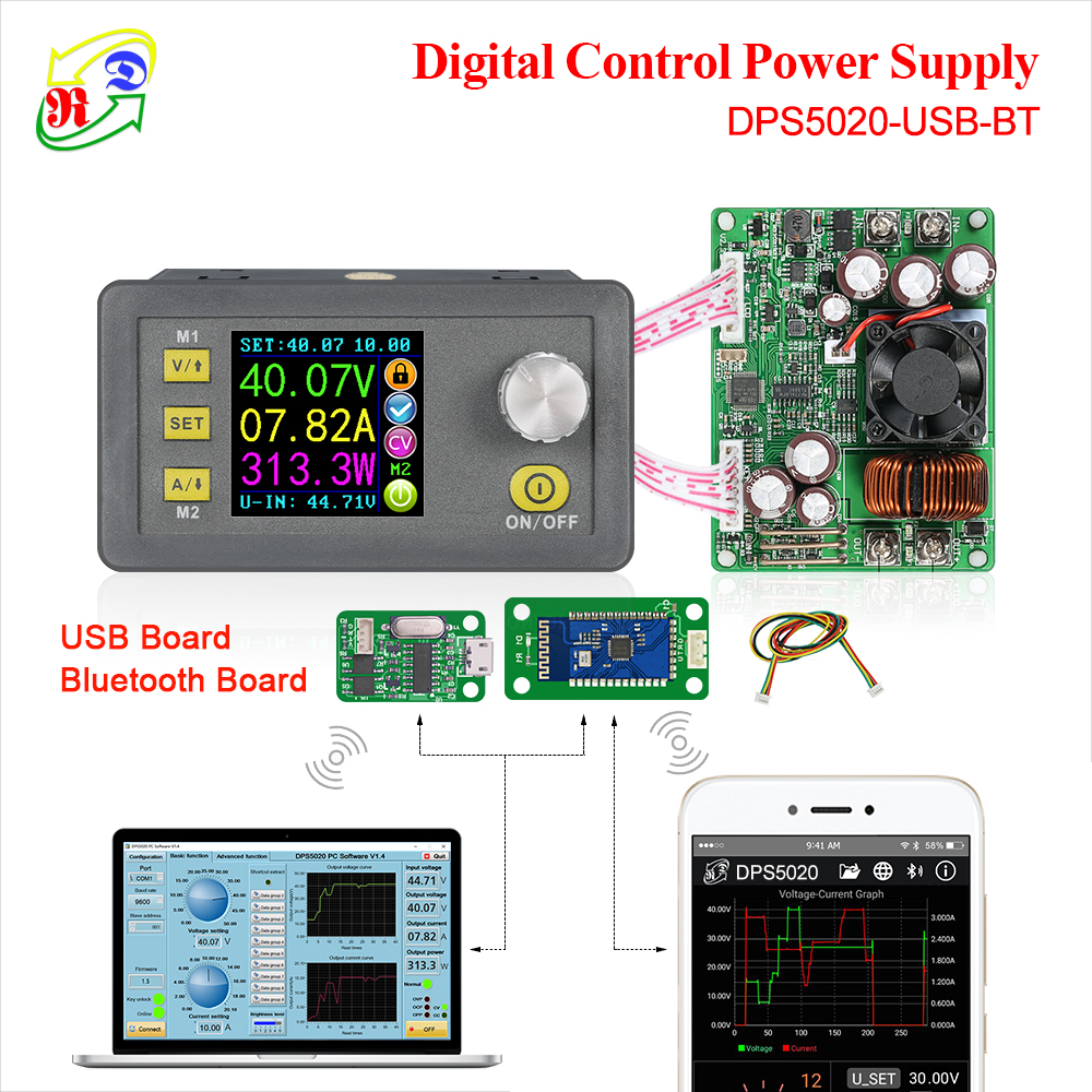 RD DPS5020 Constant Voltage current DC  DC Step down communication Power Supply buck Voltage converter LCD voltmeter 50V 20A-in Multimeters from Tools