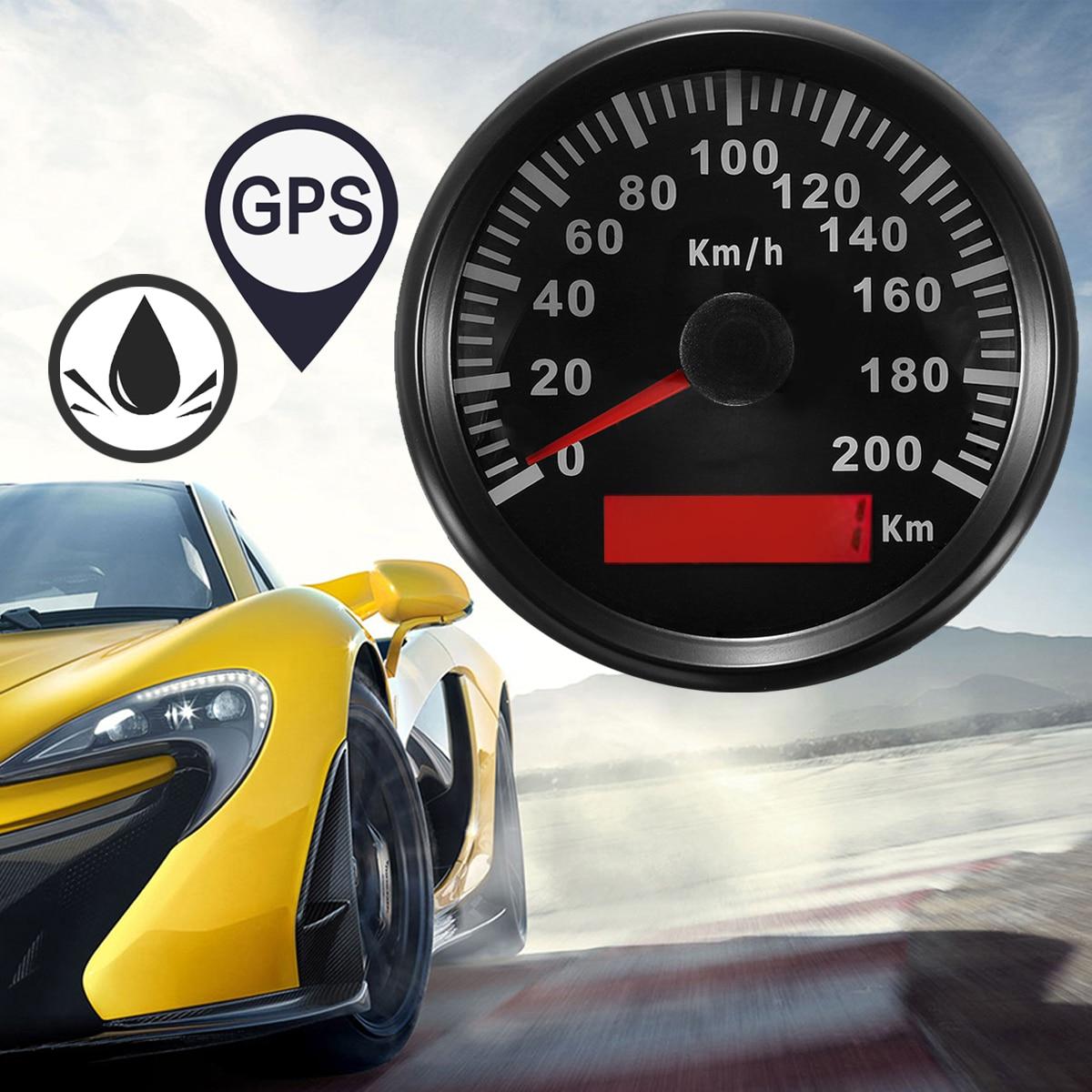 Universel 85mm GPS compteur de vitesse en acier inoxydable 200 km/h vélo voiture camion moteur Auto compteur de vitesse avec rétro-éclairage étanche numérique jauges