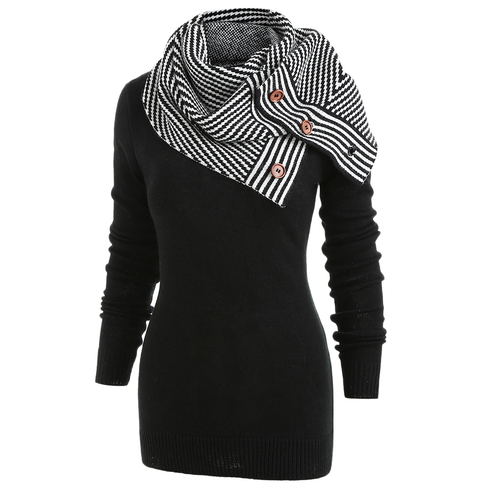 Wipalo Pullover Sweater Women Buttons Crew Neck Long Sleeve Sweater With Striped Scarf Winter Knitting Ladies Tops Clothing