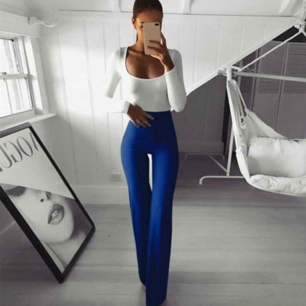 Neue Frauen Schlanker Hohe Taille Breite Bein Ausgestelltes Damen Palazzo Stretch Hose Hosen Solide Einfache Büro Damen Täglichen Tragen Volle