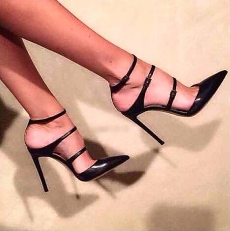 Femmes En Noir Robe Point Pompes Matt Lisse Toe Tendance Boucles patent Élégant Hauts Style Slingback Chaussures Talons Dames De 2018 Cuir Femelle Leather w7qvc6