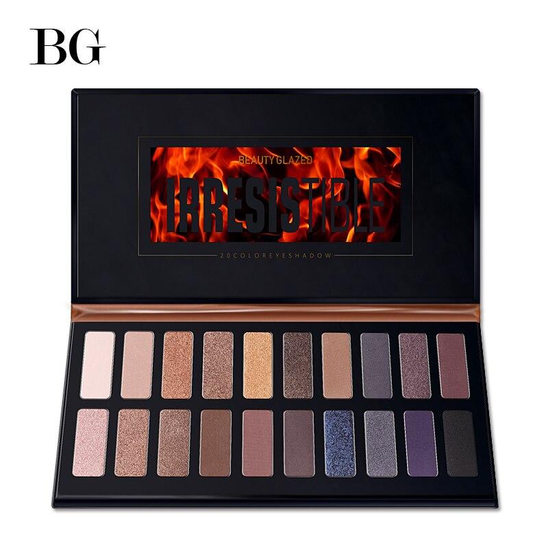 Beleza Cores Paleta de Sombra Shimmer Matte Vitrificada 20 Pigmento Montagens Gif Maquiagem Paleta Da Sombra de Olho Profissional de Longa Duração