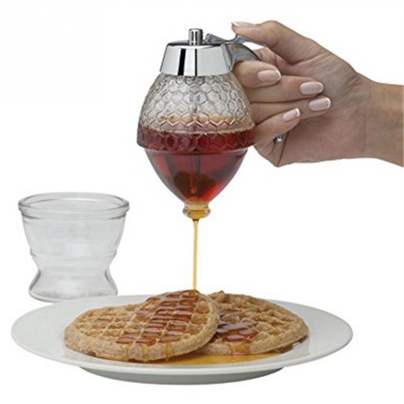 Creative Acrylic Honey Dispenser 200ml Transparent Honey Pot Shake Handshandle Juice Dispensers Water Pots & Kettles