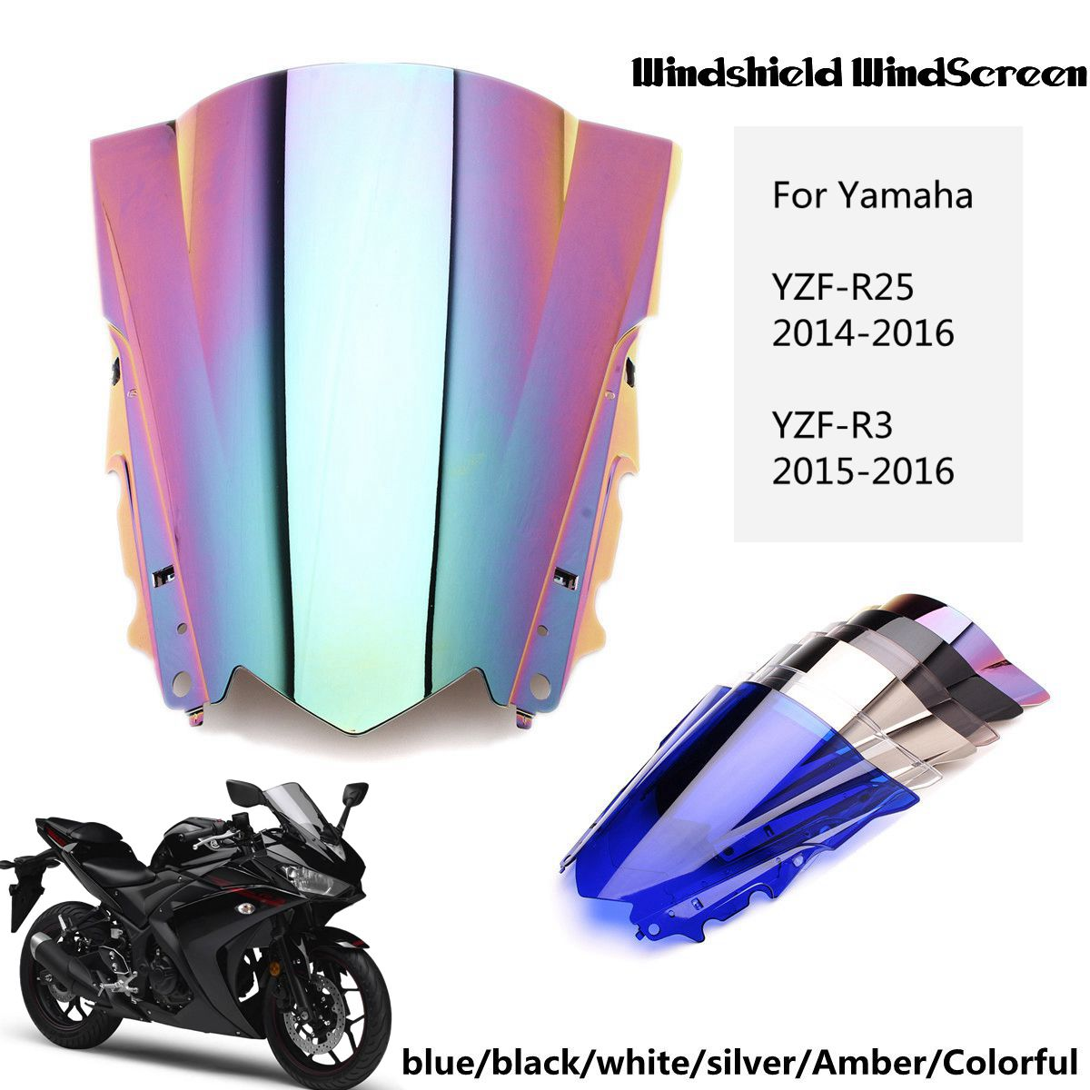Windshield WindScreen Double Bubble Wind Deflector Splitter Motorcycle Accessories for Yamaha YZF R25 R3 2013-2016 Auto Accessories Windshield Sun Shades