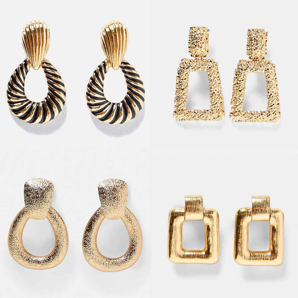 أقراط متدلية من المعدن على شكل حرف ZA ، مجوهرات عصرية أنيقة كبيرة هندسية متدلية ، أقراط متدلية للنساء