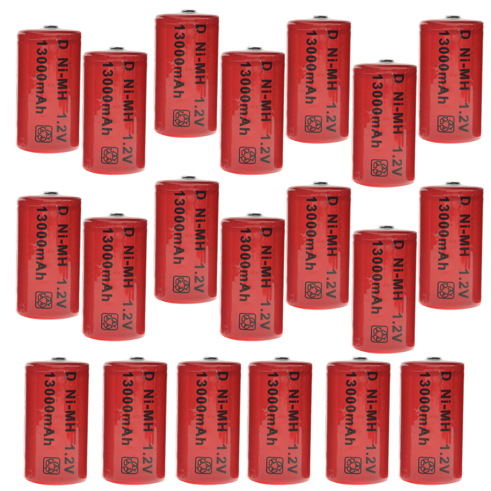 20 pièces D taille 1.2 v Ni-MH 13000 mAh D batterie Rechargeable avec onglets argent